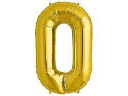 Amscan 0-ás arany szám születésnapi fólia lufi 86 cm