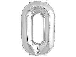 Amscan 0-ás ezüst szám születésnapi fólia lufi 86 cm