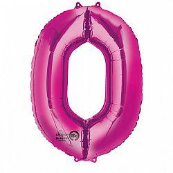 Amscan 0-ás rózsaszín szám születésnapi fólia lufi 86 cm