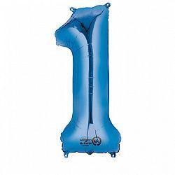 Amscan 1-es kék szám születésnapi fólia lufi 86 cm