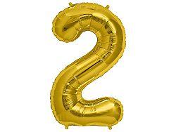 Amscan 2-es arany szám születésnapi fólia lufi 86 cm