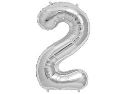 Amscan 2-es ezüst szám születésnapi fólia lufi 86 cm