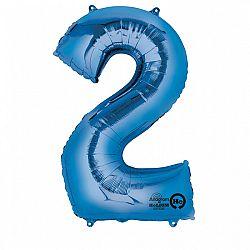 Amscan 2-es kék szám születésnapi fólia lufi 86 cm