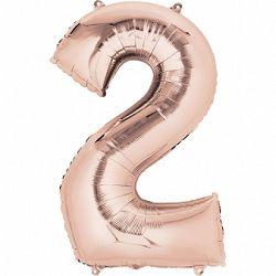 Amscan 2-es rózsaszín-arany szám születésnapi fólia lufi