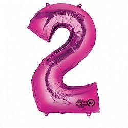 Amscan 2-es rózsaszín szám születésnapi fólia lufi 86 cm