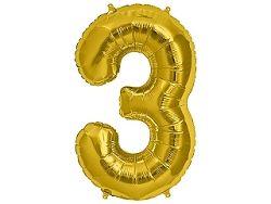 Amscan 3-as arany szám születésnapi fólia lufi 86 cm