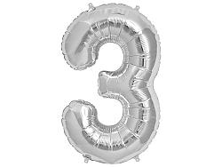 Amscan 3-as ezüst szám születésnapi fólia lufi 86 cm
