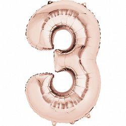 Amscan 3-as rózsaszín-arany szám születésnapi fólia lufi