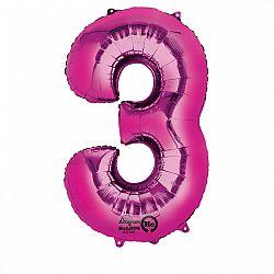 Amscan 3-as rózsaszín szám születésnapi fólia lufi 86 cm