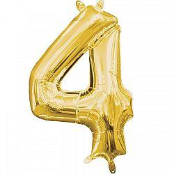 Amscan 4-es mini szám fólia lufi - arany 33 cm