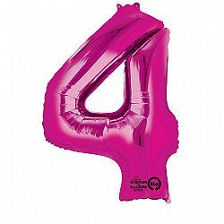 Amscan 4-es rózsaszín szám születésnapi fólia lufi 86 cm