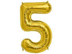 Amscan 5-ös arany szám születésnapi fólia lufi 86 cm