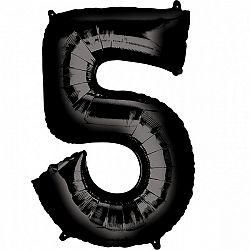 Amscan 5-ös fekete szám születésnapi fólia lufi 86 cm