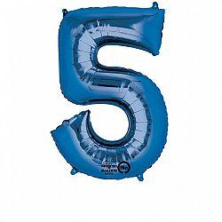 Amscan 5-ös kék szám születésnapi fólia lufi 86 cm