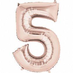 Amscan 5-ös rózsaszín-arany szám születésnapi fólia lufi