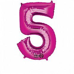 Amscan 5-ös rózsaszín szám születésnapi fólia lufi 86 cm
