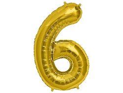 Amscan 6-os arany szám születésnapi fólia lufi 86 cm