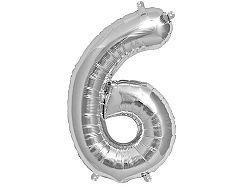 Amscan 6-os ezüst szám születésnapi fólia lufi 86 cm