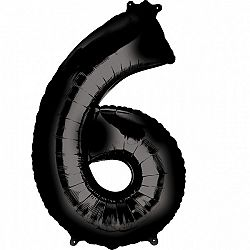 Amscan 6-os fekete szám születésnapi fólia lufi 86 cm