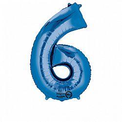 Amscan 6-os kék szám születésnapi fólia lufi 86 cm