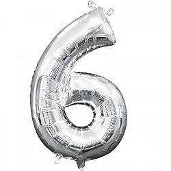 Amscan 6-os mini szám fólia lufi - ezüst 33 cm