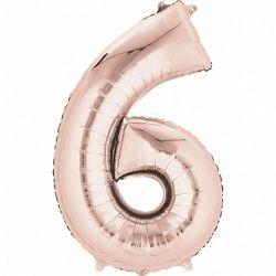 Amscan 6-os rózsaszín-arany szám születésnapi fólia lufi