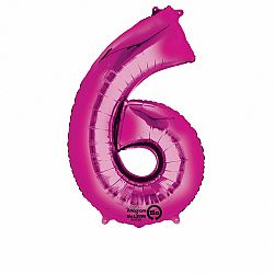 Amscan 6-os rózsaszín szám születésnapi fólia lufi