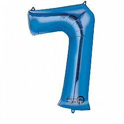 Amscan 7-es kék szám születésnapi fólia lufi 86 cm