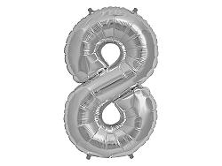 Amscan 8-as ezüst szám születésnapi fólia lufi 86 cm