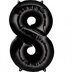 Amscan 8-as fekete szám születésnapi fólia lufi 86 cm