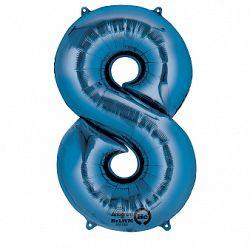 Amscan 8-as kék szám születésnapi fólia lufi 86 cm