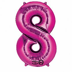 Amscan 8-as rózsaszín szám születésnapi fólia lufi 86 cm