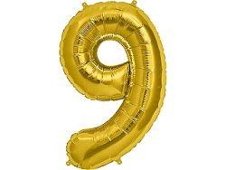 Amscan 9-es arany szám születésnapi fólia lufi 86 cm
