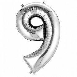 Amscan 9-es ezüst szám születésnapi fólia lufi