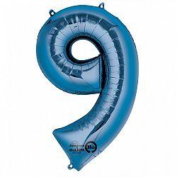 Amscan 9-es kék szám születésnapi fólia lufi 86 cm
