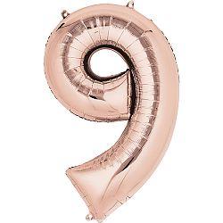 Amscan 9-es rózsaszín-arany szám születésnapi fólia lufi