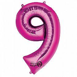 Amscan 9-es rózsaszín szám születésnapi fólia lufi
