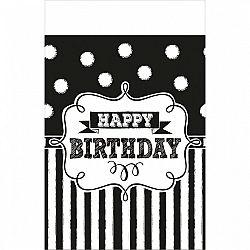 Amscan Abrosz - fekete-fehér születésnap 137 x 259 cm
