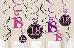 Amscan Függő dekoráció 18. születésnap - csillogó rózsaszín