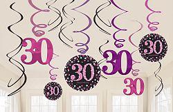 Amscan Függő dekoráció 30. születésnap - csillogó rózsaszín