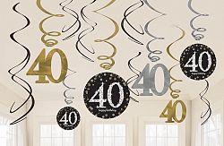 Amscan Függő dekoráció 40. születésnap - csillogó arany
