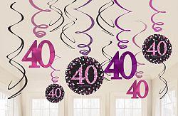 Amscan Függő dekoráció 40. születésnap - csillogó rózsaszín