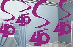 Amscan Függő dekoráció 40. születésnap - rózsaszín