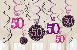 Amscan Függő dekoráció 50. születésnap - csillogó rózsaszín