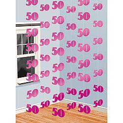 Amscan Függő dekoráció 50. születésnap - rózsaszín