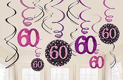 Amscan Függő dekoráció 60. születésnap - csillogó rózsaszín