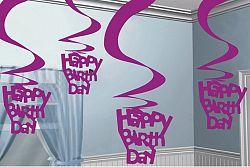 Amscan Függő dekoráció Happy Birthday - rózsaszín