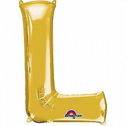Amscan L betű mini fólia lufi 33 cm - arany