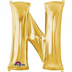 Amscan N betű fólia lufi 86 cm - arany