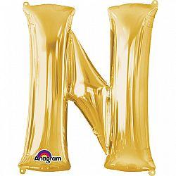 Amscan N betű mini fólia lufi 33 cm - arany